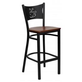 Hercules Series Black Coffee Metal Cherry Wood Restaurant Bar Stool