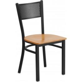 HERCULES Series Black Grid Back Natural Wood Seat Restaurant Chair