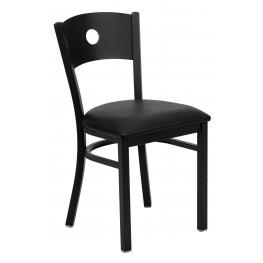 Hercules Series Black Circle Back Vinyl Restaurant Chair