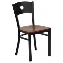 Hercules Series Black Circle Back Cherry Wood Restaurant Chair