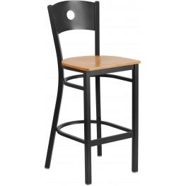 HERCULES Series Black Circle Back Natural Wood Seat Restaurant Barstool