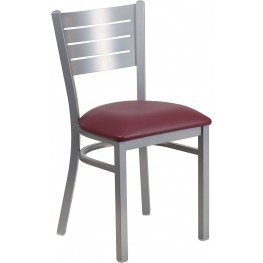 HERCULES Series Silver Slat Back Metal Restaurant Chair with Burgundy Vinyl Seat
