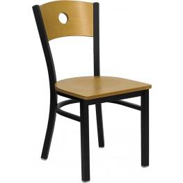 Hercules Black Circle Back Metal Restaurant Chair Wood Back & Seat
