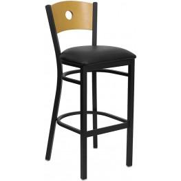 Hercules Black Circle Back Metal Restaurant Bar Stool - Natural Wood Back, Black Vinyl Seat