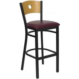 Hercules Black Circle Back Metal Restaurant Bar Stool - Natural Wood Back, Burgundy Vinyl Seat