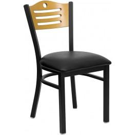 Hercules Black Slat Back Metal Restaurant Chair - Natural Wood Back, Black Vinyl Seat