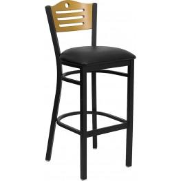Hercules Black Slat Back Metal Restaurant Bar Stool - Natural Wood Back, Black Vinyl Seat