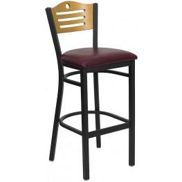 Hercules Black Slat Back Metal Restaurant Bar Stool - Natural Wood Back, Burgundy Vinyl Seat