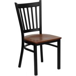 Hercules Black Vertical Back Metal Restaurant Chair W/Cherry Wood Seat