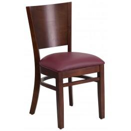Lacey Series Solid Back Walnut Wooden Burgundy Vinyl Restaurant Chair