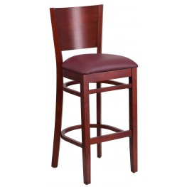 Lacey Series Solid Back Mahogany Wooden Burgundy Vinyl Restaurant Barstool