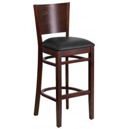 Lacey Series Solid Back Walnut Wooden Black Vinyl Restaurant Barstool