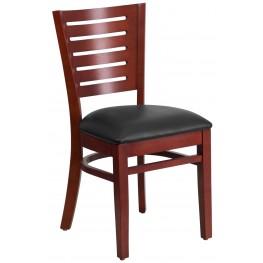 Darby Series Slat Back Mahogany Wooden Black Vinyl Restaurant Chair