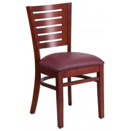 Darby Series Slat Back Mahogany Wooden Burgundy Vinyl Restaurant Chair