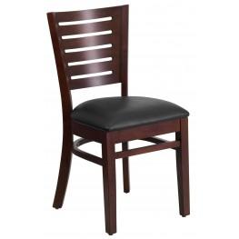 Darby Series Slat Back Walnut Wooden Black Vinyl Restaurant Chair