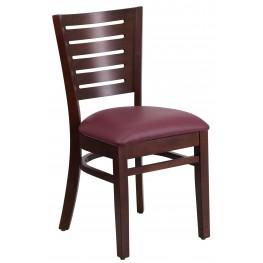 Darby Series Slat Back Walnut Wooden Burgundy Vinyl Restaurant Chair