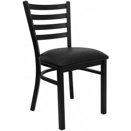 6562 Hercules Black Ladder Back Metal Restaurant Chair - Black Vinyl Seat