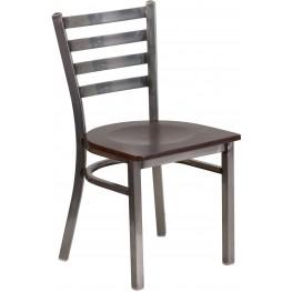 HERCULES Series Clear Coated Ladder Back Walnut Wood Seat Restaurant Chair