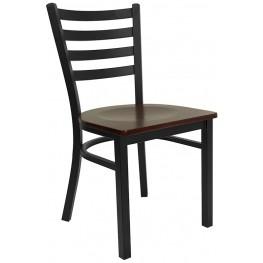 6565 Hercules Black Ladder Back Metal Restaurant Chair W/Mahogany Wood Seat
