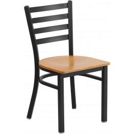 HERCULES Series Black Ladder Back Natural Wood Seat Restaurant Chair