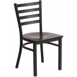 HERCULES Series Black Ladder Back Walnut Wood Seat Restaurant Chair