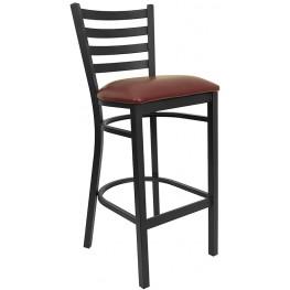 6491 Hercules Black Ladder Back Metal Restaurant Bar Stool Vinyl Seat