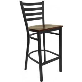 6493 Hercules Black Ladder Back Metal Restaurant Bar Stool Mahogany Seat