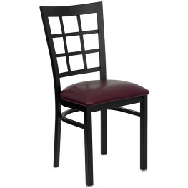 Hercules Black Window Back Metal Restaurant Chair Burgundy Vinyl Seat