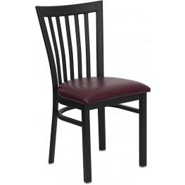Hercules Black School House Back Metal Restaurant Chair Burgundy Seat