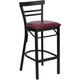 6503 Hercules Black Ladder Back Metal Restaurant Bar Stool Vinyl Seat