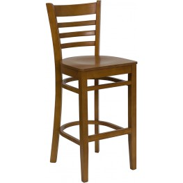 Hercules Cherry Finished Ladder Back Wooden Restaurant Bar Stool