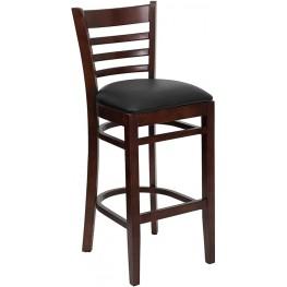 Hercules Mahogany Finished Ladder Back Wooden Restaurant Bar Stool - Black Vinyl Seat