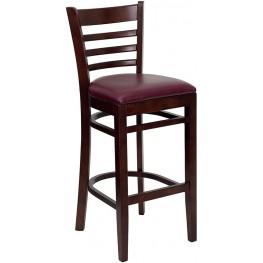 Hercules Mahogany Finished Ladder Back Wooden Restaurant Bar Stool - Burgundy Vinyl Seat