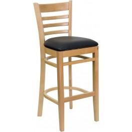 Hercules Natural Wood Finished Ladder Back Wooden Restaurant Bar Stool - Black Vinyl Seat