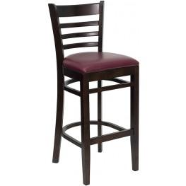 Hercules Walnut Finished Ladder Back Wooden Restaurant Bar Stool - Burgundy Vinyl Seat