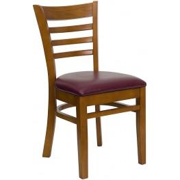 Hercules Cherry Finished Ladder Back Wooden Restaurant Chair - Burgundy Vinyl Seat