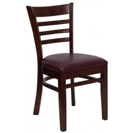Hercules Mahogany Finished Ladder Back Wooden Restaurant Chair - Burgundy Vinyl Seat