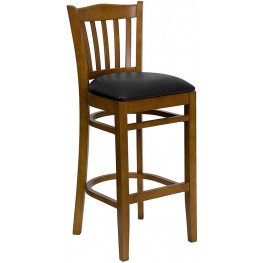 Hercules Cherry Finished Vertical Slat Back Wooden Restaurant Bar Stool - Black Vinyl Seat