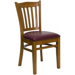Hercules Cherry Finished Vertical Slat Back Wooden Restaurant Chair - Burgundy Vinyl Seat