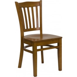 Hercules Cherry Finished Vertical Slat Back Wooden Restaurant Chair