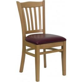Hercules Natural Wood Finished Vertical Slat Back Wooden Restaurant Chair - Burgundy Vinyl Seat
