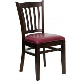 Hercules Series Walnut Vertical Slat Back Burgundy Vinyl Restaurant Chair