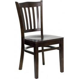 Hercules Walnut Finished Vertical Slat Back Wooden Restaurant Chair