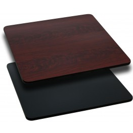 """42"""" Square Table Top with Black or Mahogany Reversible Laminate Top"""