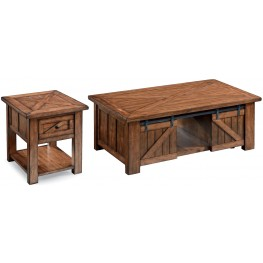 Harper Farm Warm Pine Rectangular Occasional Table Set