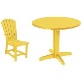 "Generations Yellow 37"" Round Pedestal Dining Room Set"