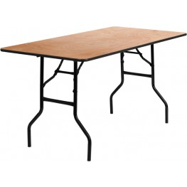 "60"" Rectangular Wood Folding Banquet Table"