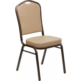 Hercules Series Crown Back Stacking Tan Vinyl Banquet Chair