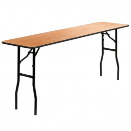"72"" Rectangular Wood Folding Smooth Clear Coated Seminar Table"