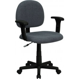 Low Back Ergonomic Gray Adjustable Arm Swivel Task Chair (Min Order Qty Required)